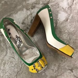 Naughty monkey green and yellow chunky heels